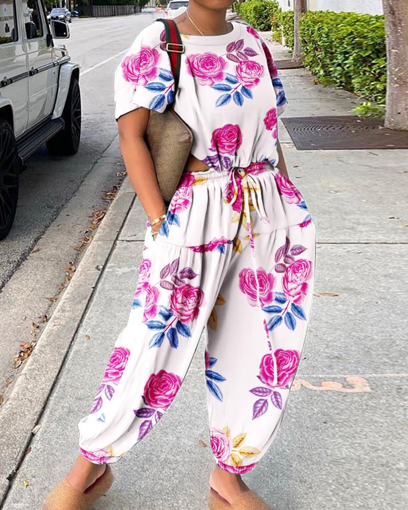 Short Sleeve Floral Print Drawstring Jumpsuit