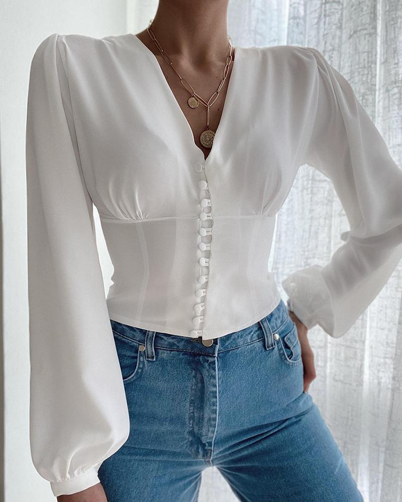 V-Neck Button Decor Long Sleeve Top