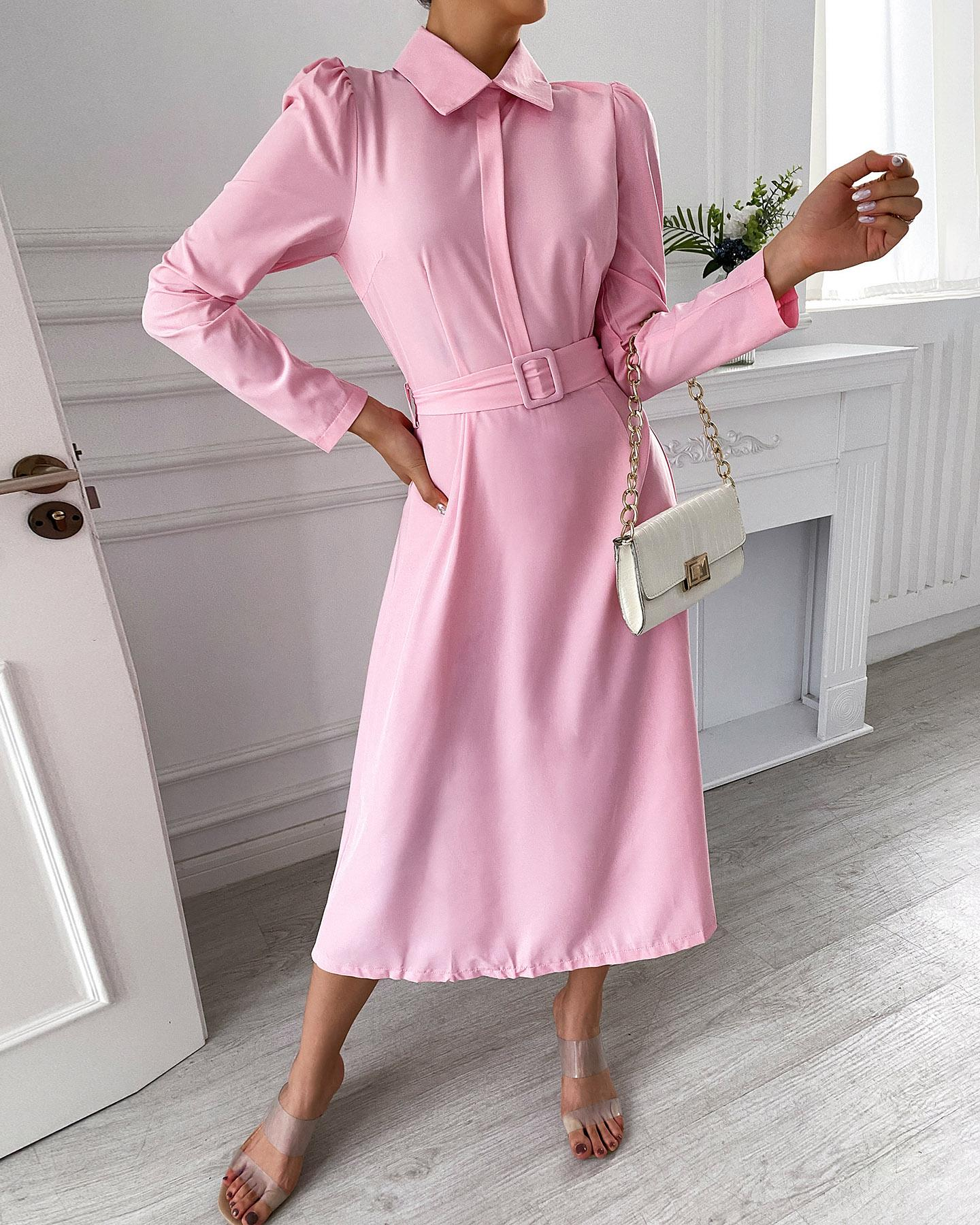 Puff Long Sleeve Casual Dress With Belt thumbnail