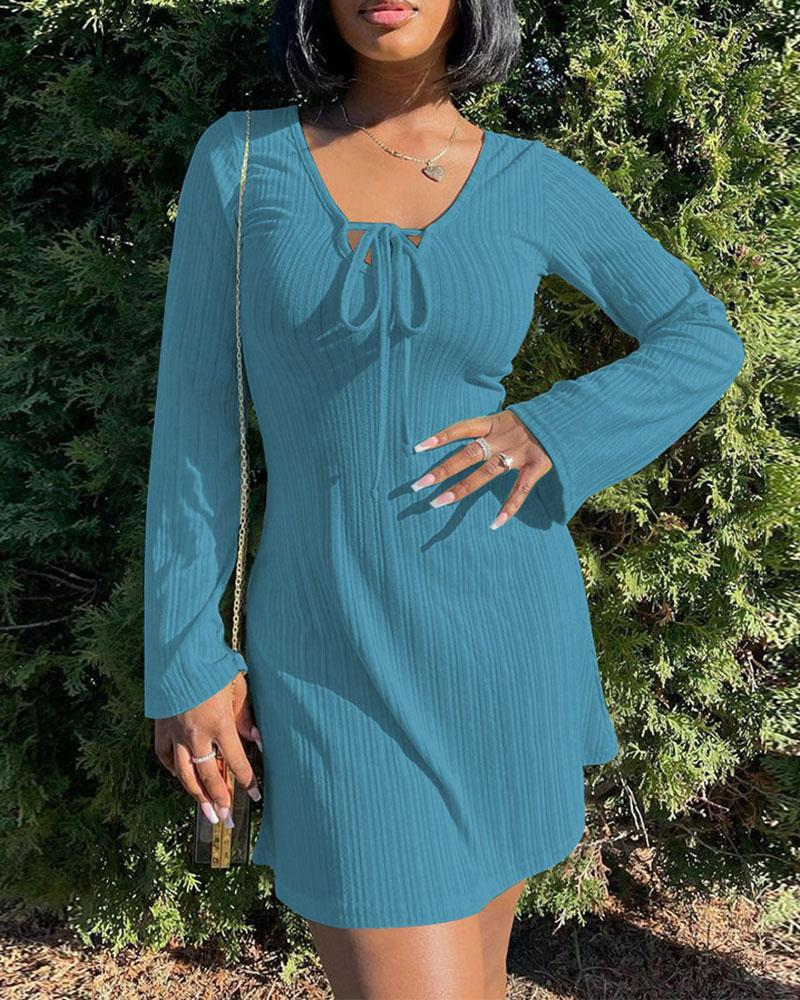 Tie Front Bell Sleeve V-Neck Casual Dress