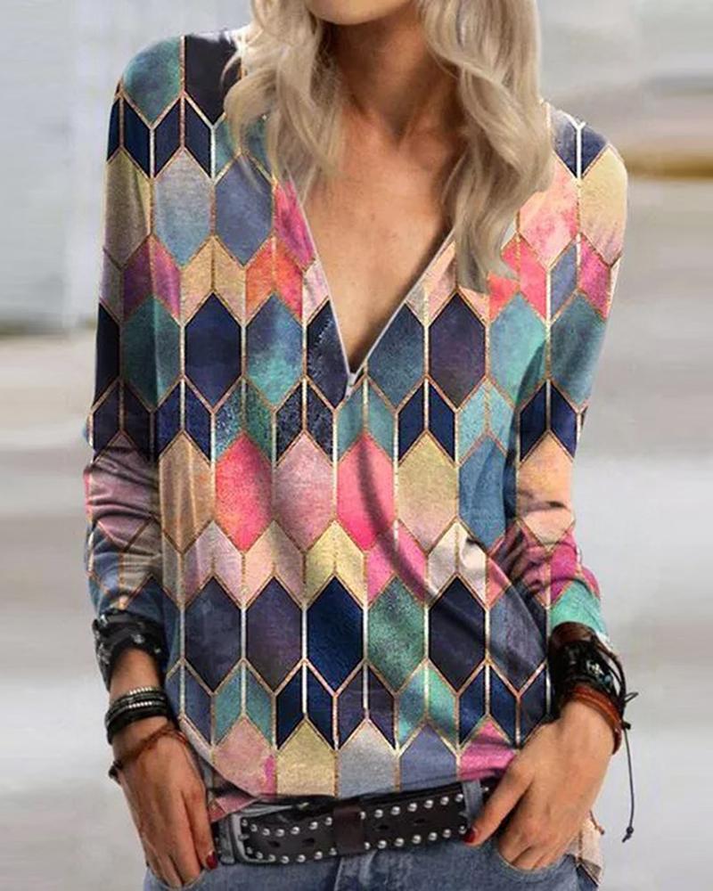 Colorblock Geometry Long Sleeve Sweatshirt