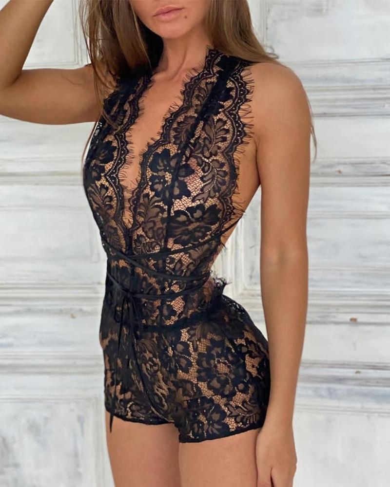 Criss Cross Open Back Lace Teddy Bodysuit Plain Plunge Skinny Teddy, ivrose, black  - buy with discount