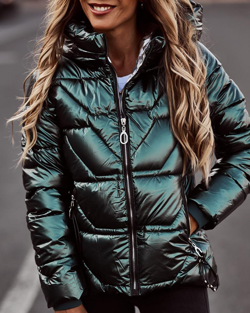 Zipper Pocket Design Long Sleeve Hooded Puffer Coat