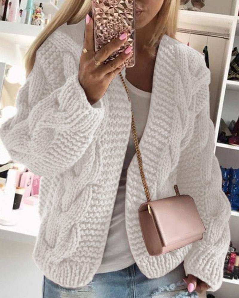 Solid Long Sleeve Woven Knitted Loose Cardigans