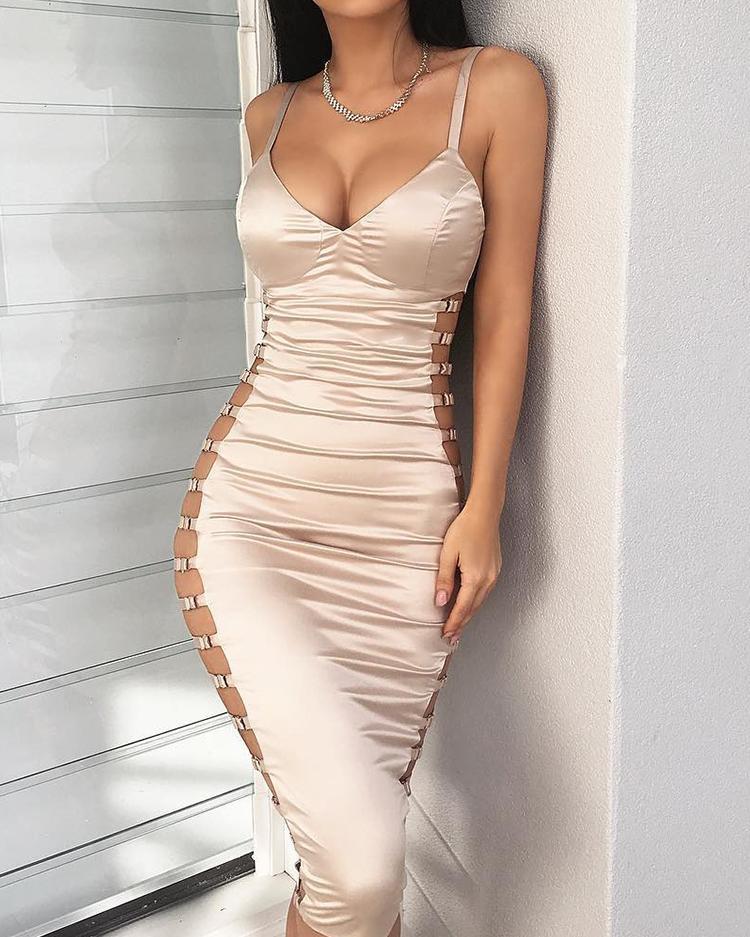 Joyshoetique coupon: Ladder Cutout Deep V Bodycon Dress