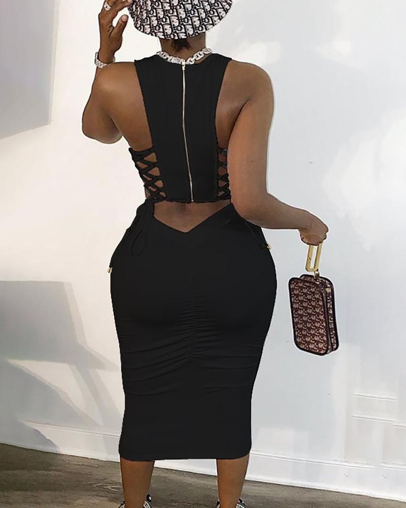 Zipper Design Cut Out Lace-up Dress