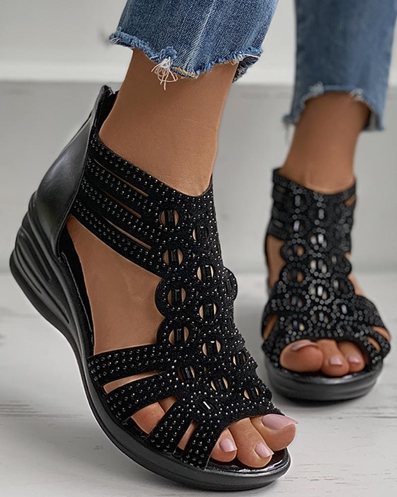 Rhinestone Cutout Peep Toe Wedge Sandals