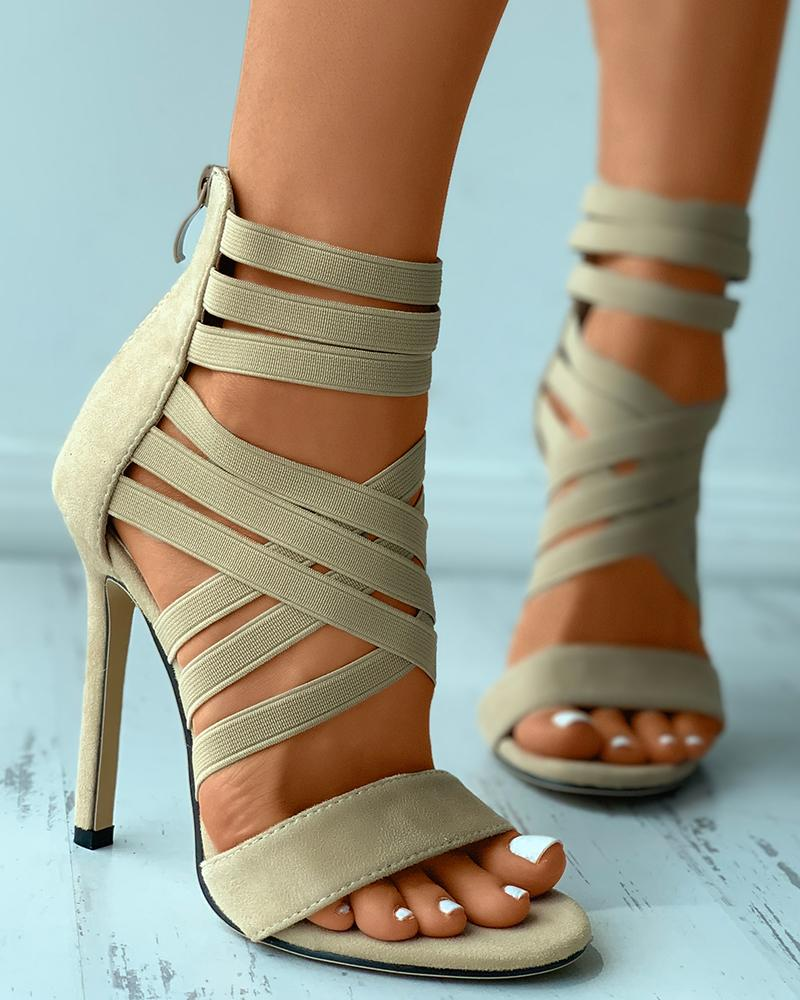 Bandage Peep Toe Zip Back Suede Stiletto Heels, Apricot
