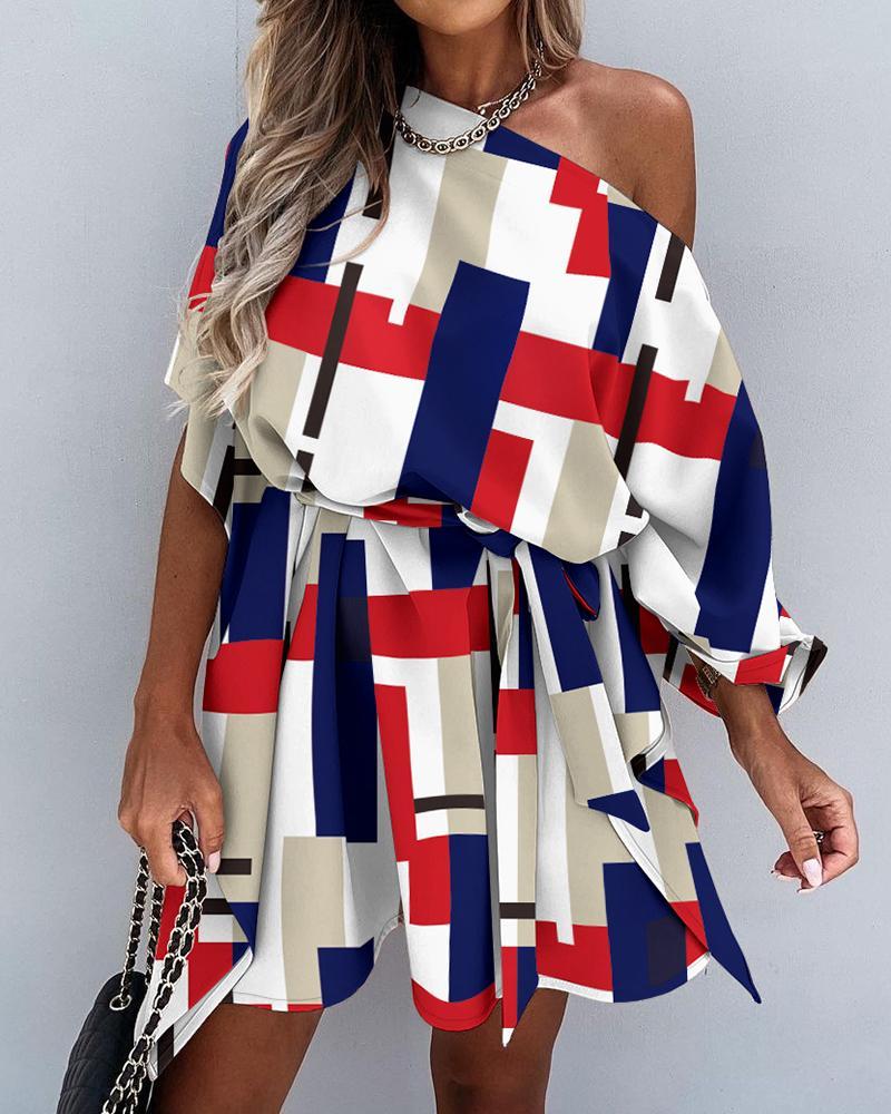 Colorblock Skew Neck Pleated Lace Up Mini Dress