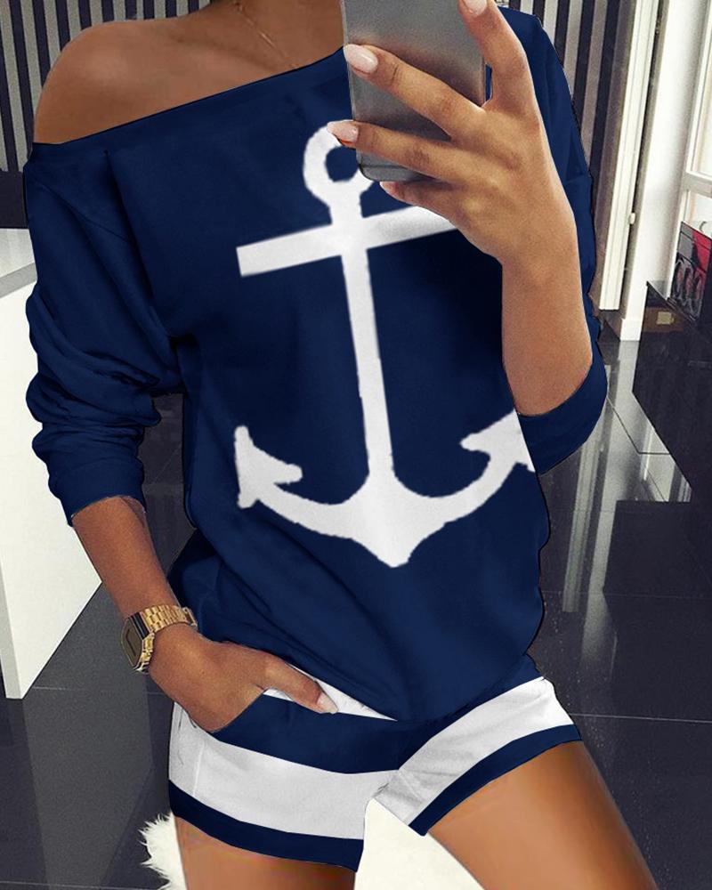 Boat Anchor Print Top & Striped Pockets Shorts Set thumbnail