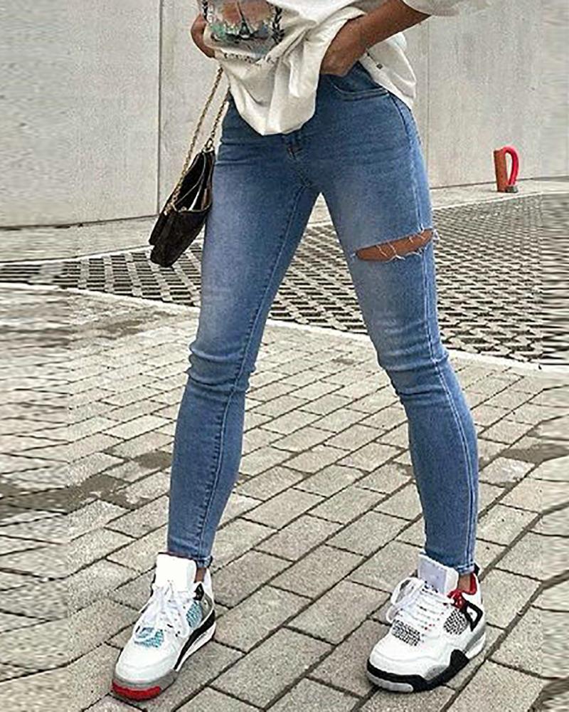 Pocket Design Cutout Skinny Jeans