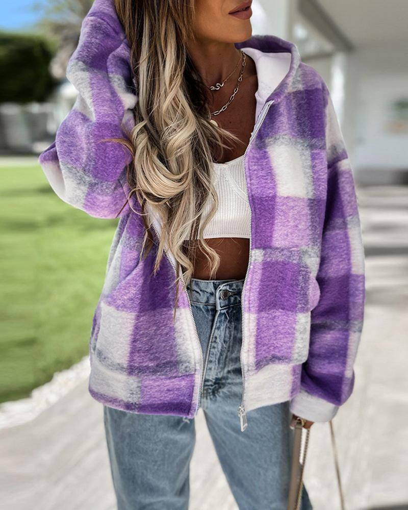 Plaid Print Long Sleeve Hooded Zipper Up Coat thumbnail
