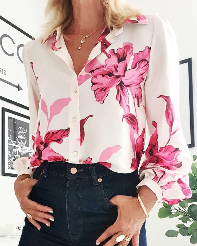 Floral Print Puff Lantern Sleeve Buttoned Shirt, White