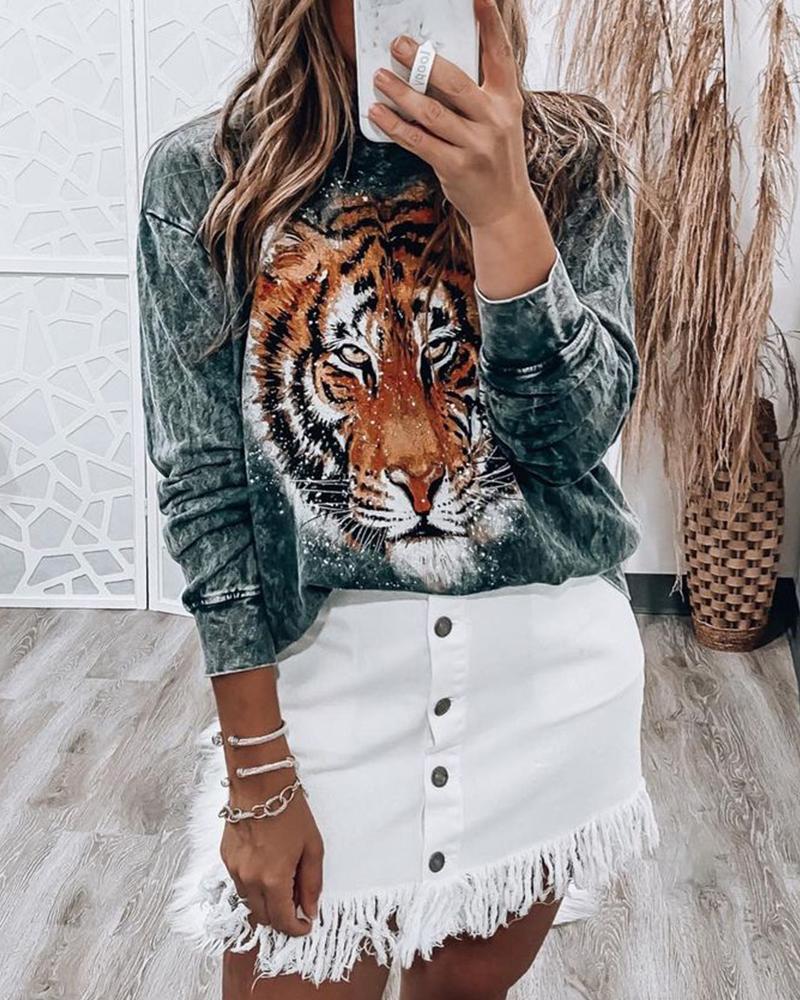 Tiger Print O-neck Long Sleeve Sweatshirt