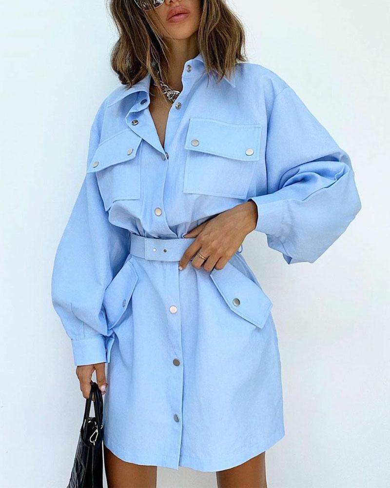 Long Sleeve Flap Detail Button Up Shirt Dress