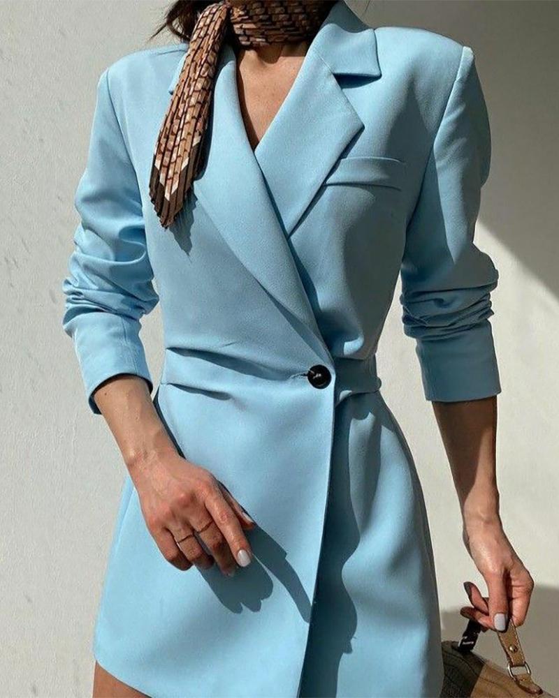 Long Sleeve Single Button Slim Waist Blazer Dress