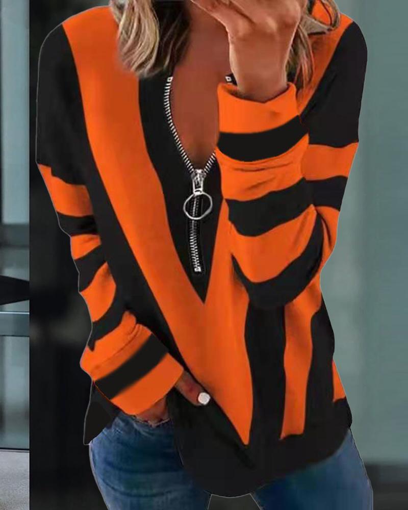 Striped Print Zipper Front Long Sleeve Top