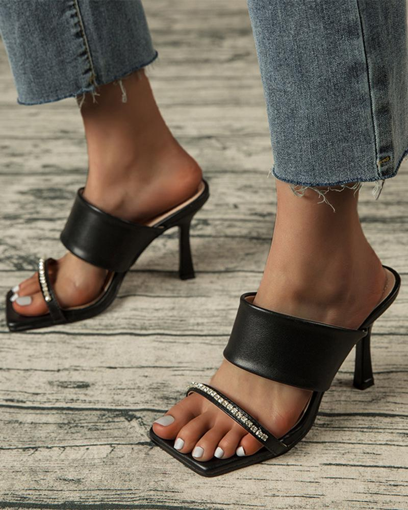 Solid Banded Patch Sqaure-toe High Heel Sandals