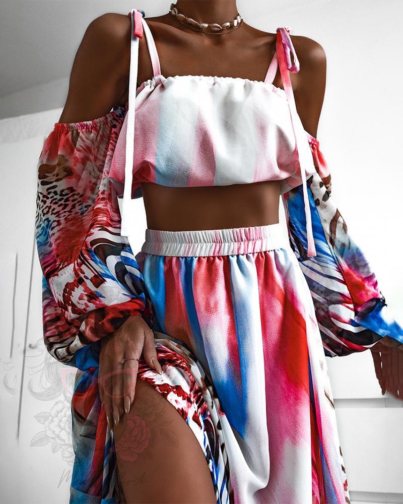 Colorblock Lantern Sleeve Crop Top & Slit Skirt Set, Multicolor