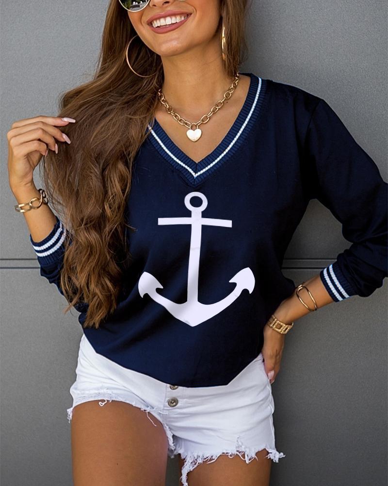 Boat Anchor Print V-Neck Long Sleeve Sweatshirt