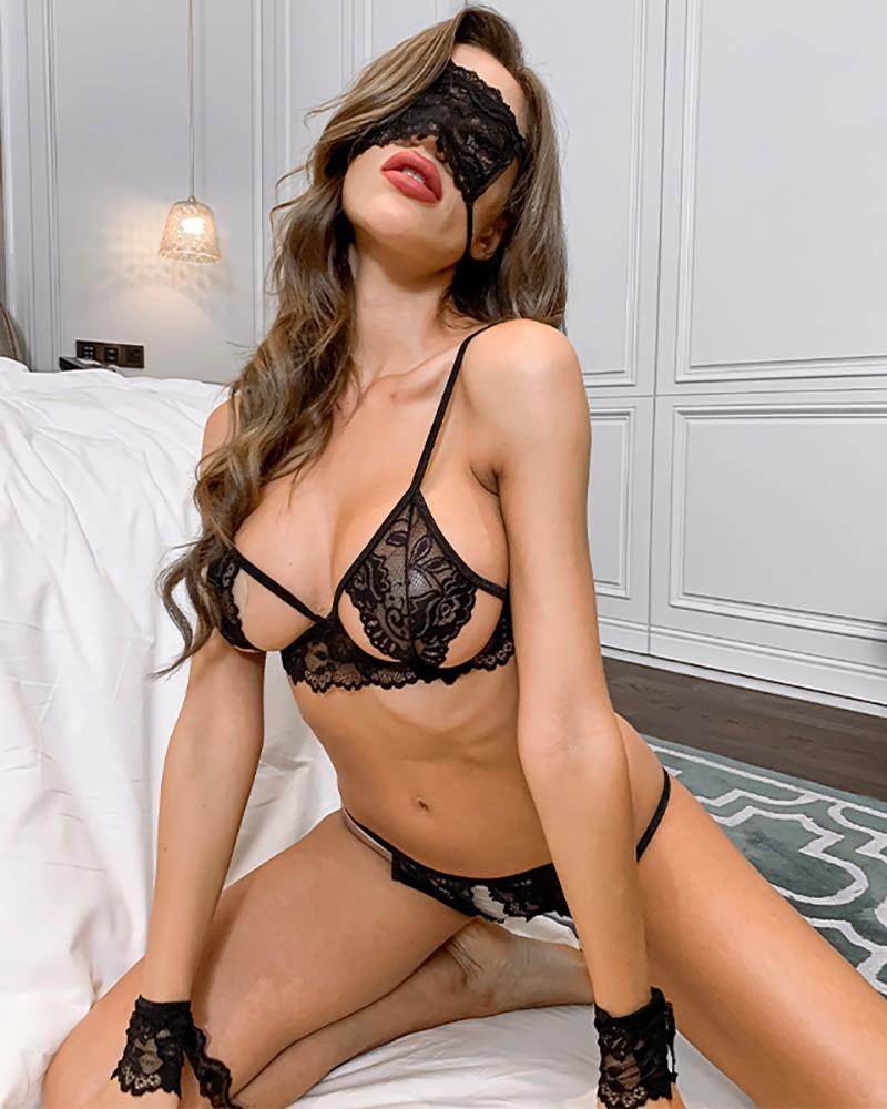 Crochet Lace Cutout Lingerie Set With Eye Mask And Wrist Band