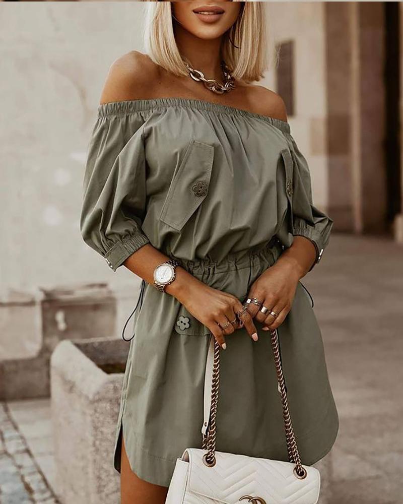 Drawstring Ruched Off Shoulder Dress Casual Half Sleeve Plain Mini Dress