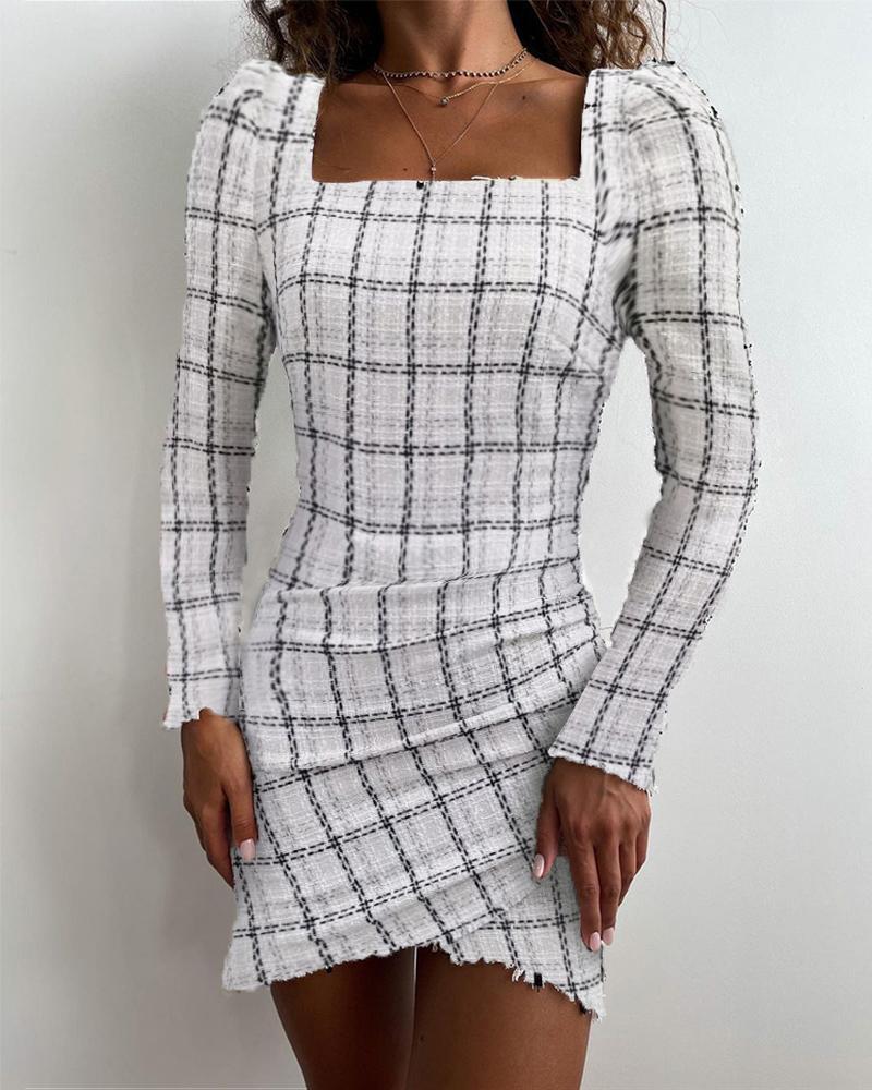 Plaid Print Raw Hem Ruched Skinny Dress