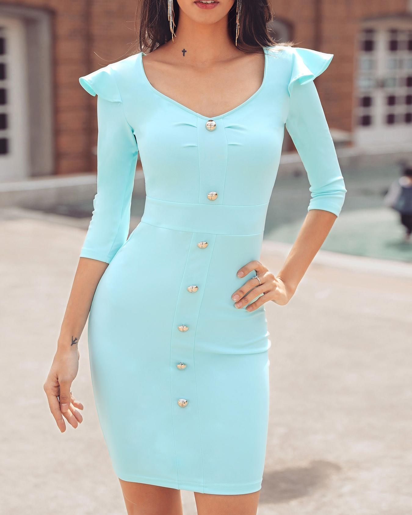 ChicMe coupon: Button Design Ruffles Shoulder Bodycon Dress