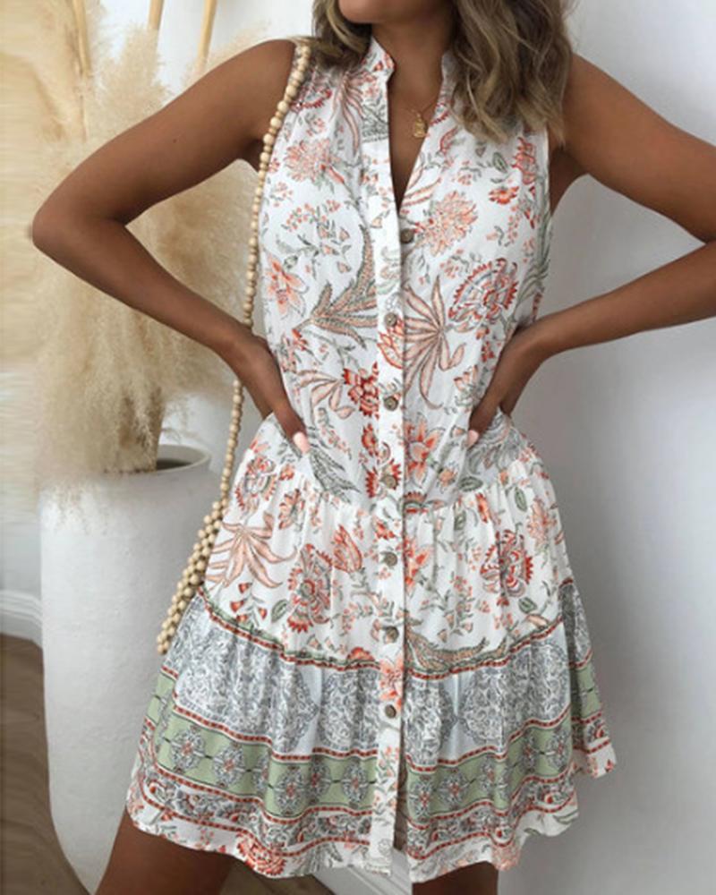 All Over Print Ruffle Hem Sleeveless Mini Dress, White