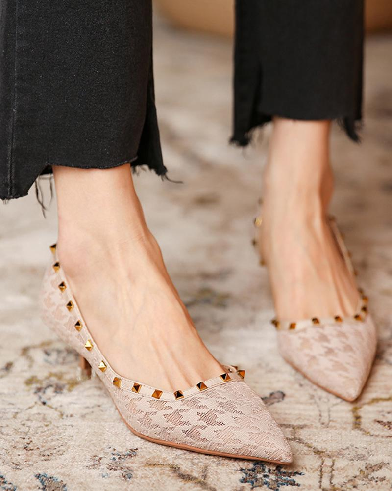 Pointed-toe Lace Splicing Studded High Heels