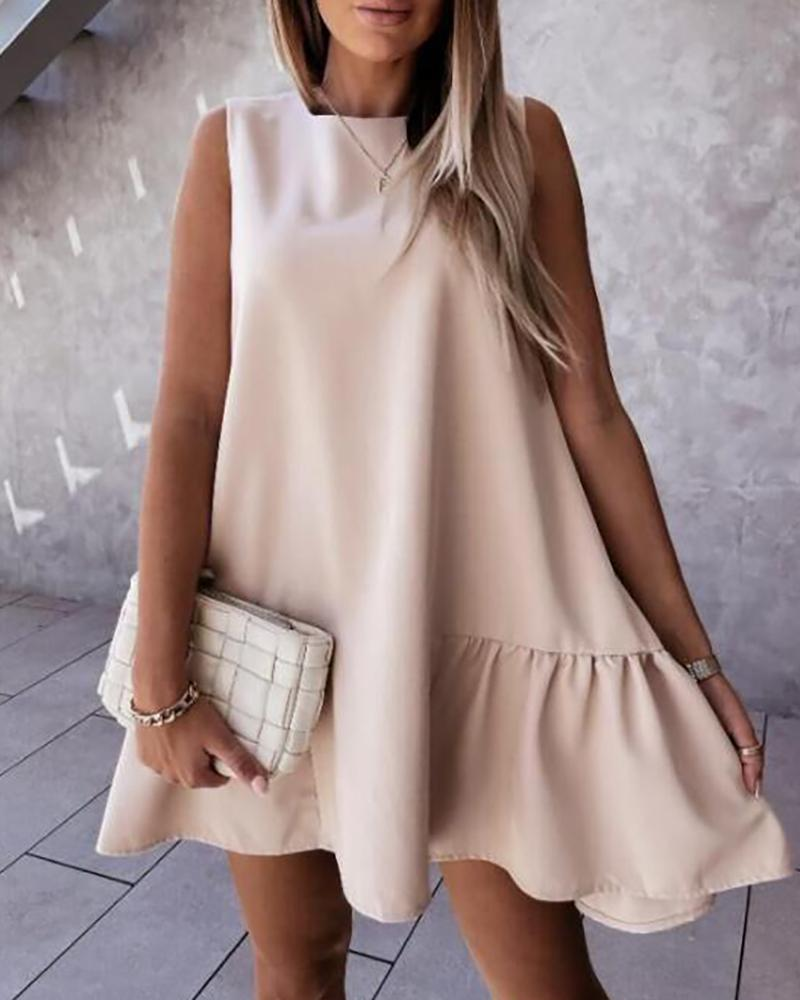 O-neck Sleeveless Ruched Casual Dress