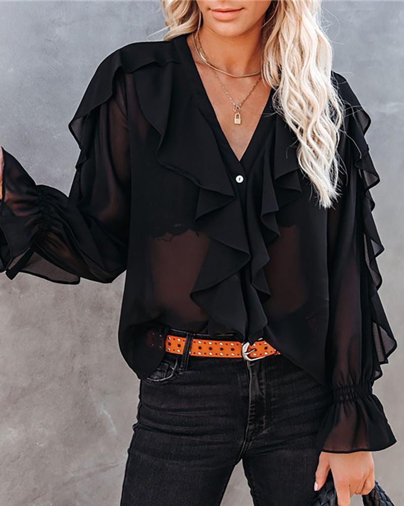 Ruffle Hem Design Plain V Neck Long Sleeve Women Top, Black
