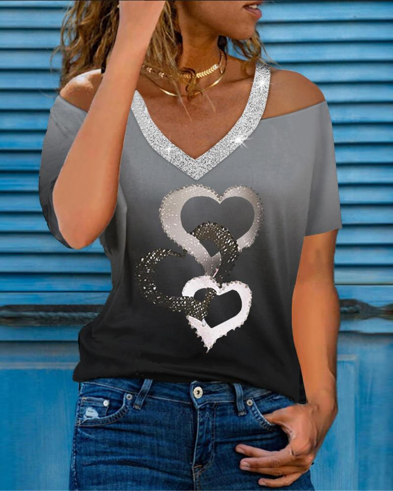 Heart Print Colorblock Cold Sholder Studded Top