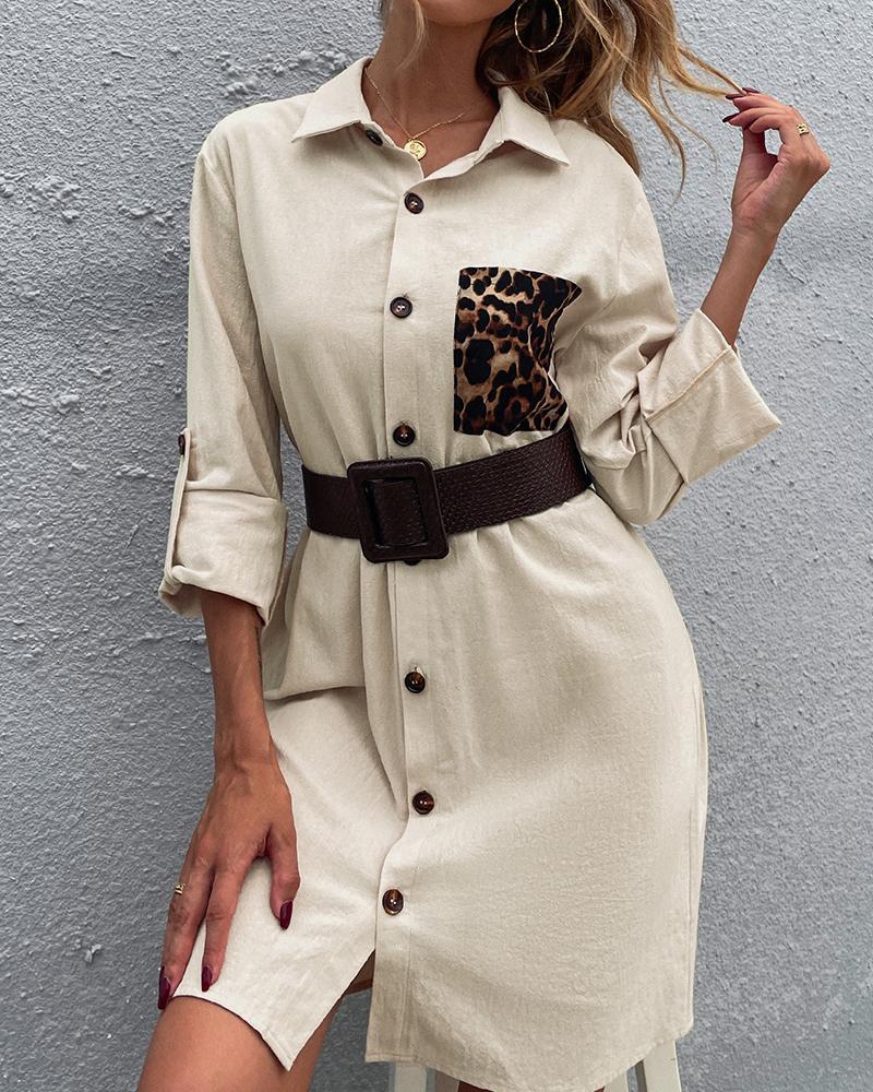 Button Design Cheetah Print Colorblock Shirt Dress