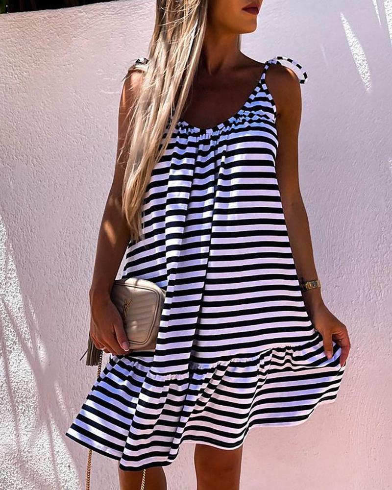 Striped Ruffle Hem Sleeveless Backless Casual Dress, Black&white