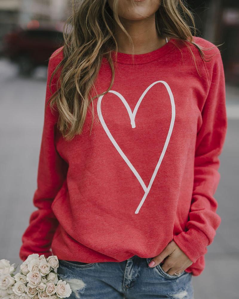 Heart Print Long Sleeve Top