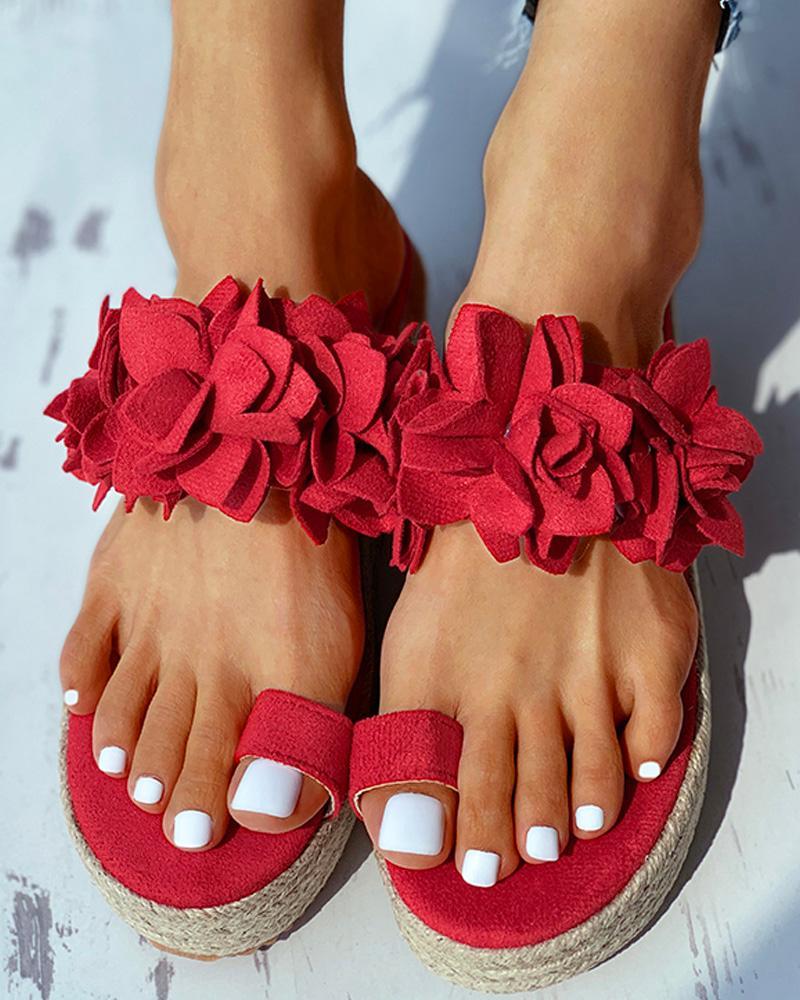 Toe Ring Flower Pattern Wedge Heeled Sandals