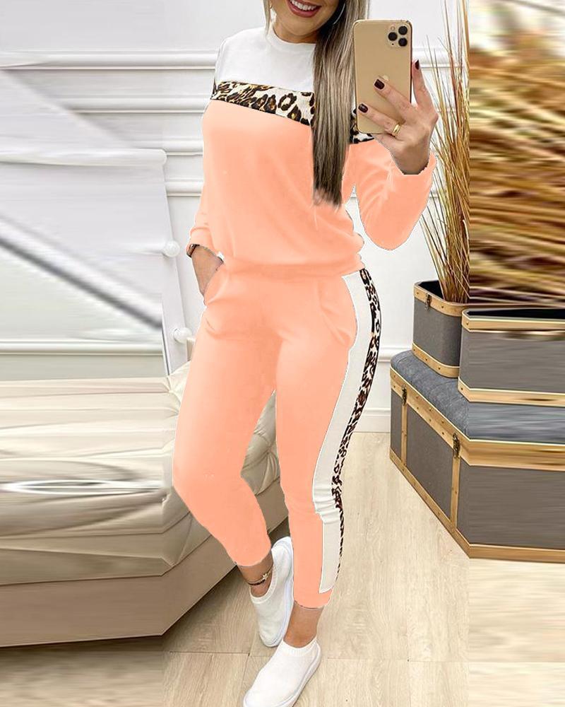 Cheetah Print Colorblock Top & Pants Set