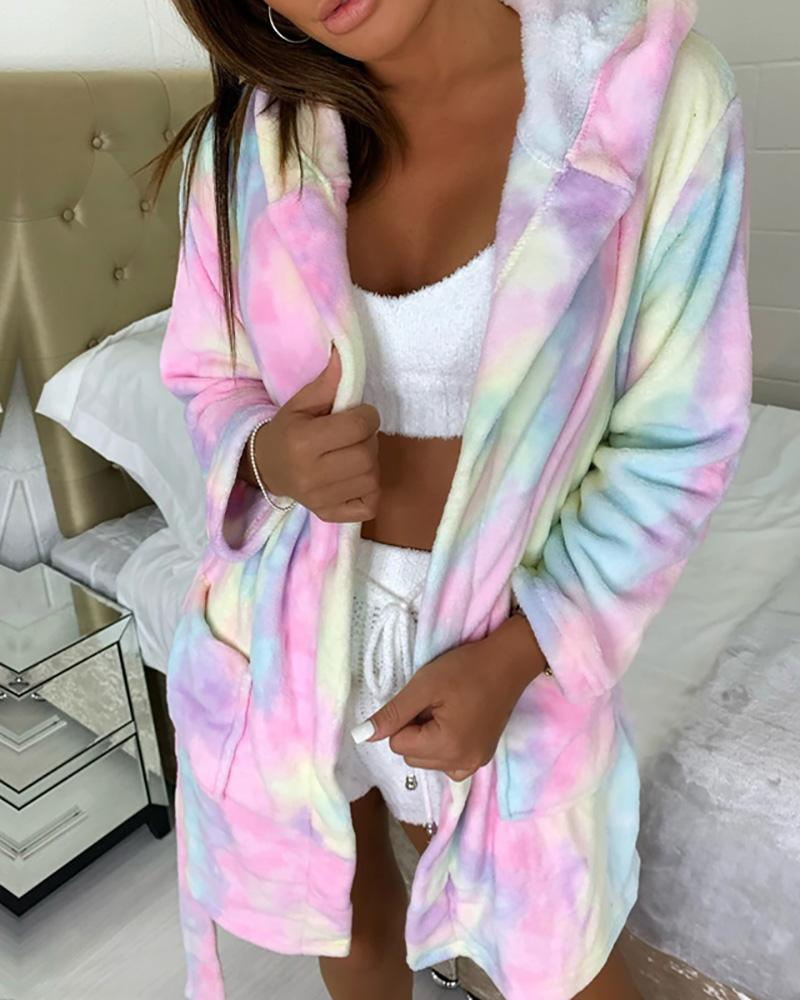 Zebra Stripe / Tie Dye / Plain Pocket Design Hooded Robe, Pink