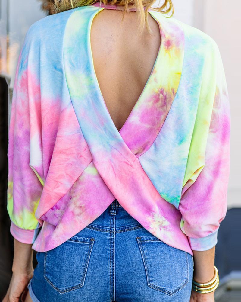 Tie Dye Print Crisscross Backless Top