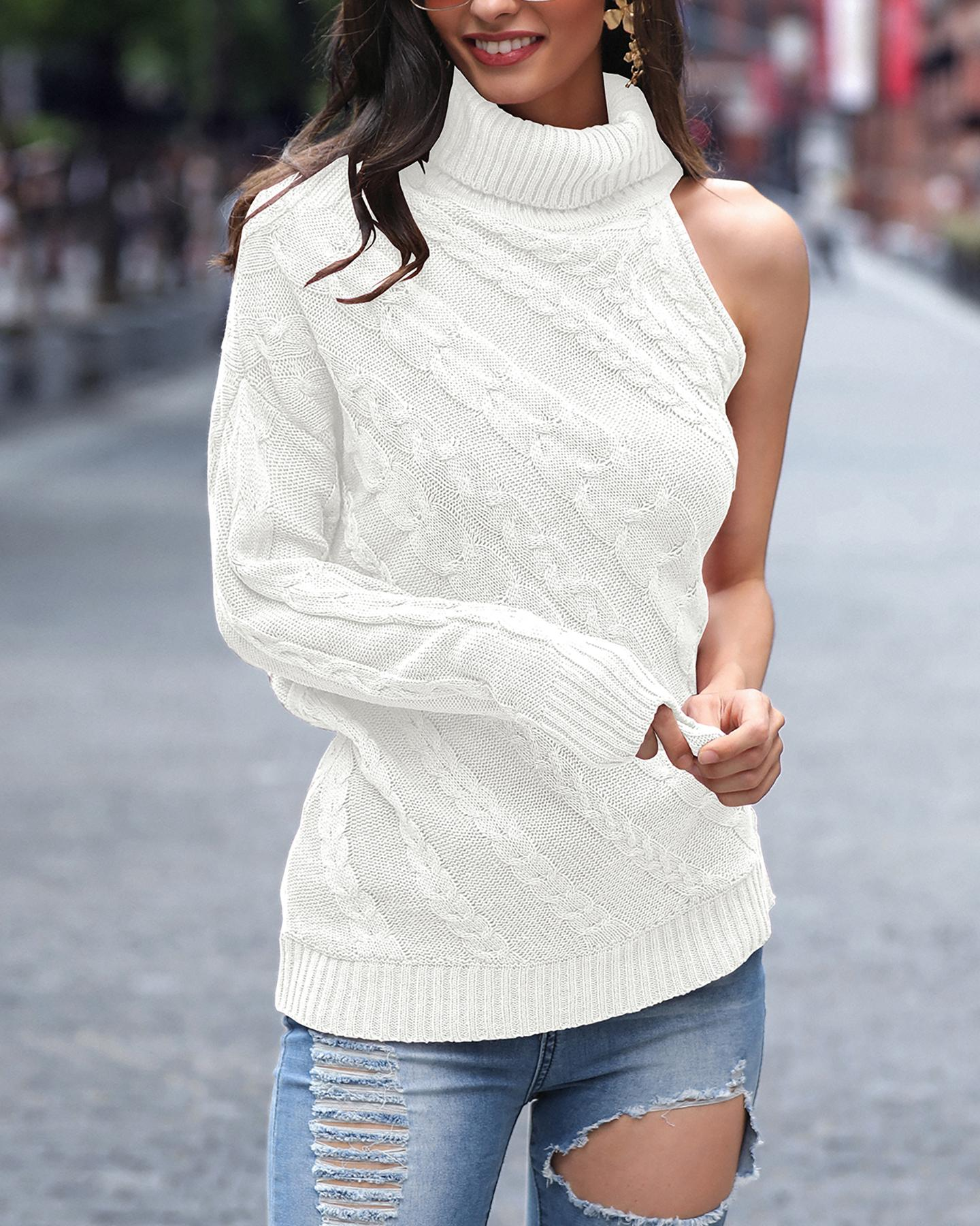 ChicMe coupon: One Shoulder Embroidered Neck Sweater