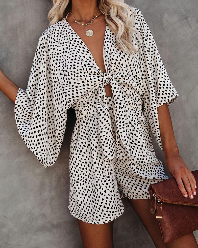 Floral / Cheetah Pattern Print Knotted Romper
