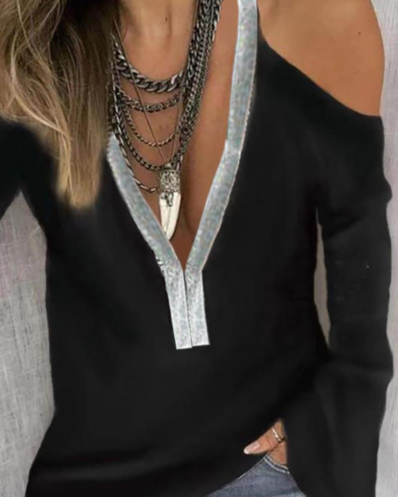 Cold Shoulder Sequins Patch Long Sleeve Blouse, Black