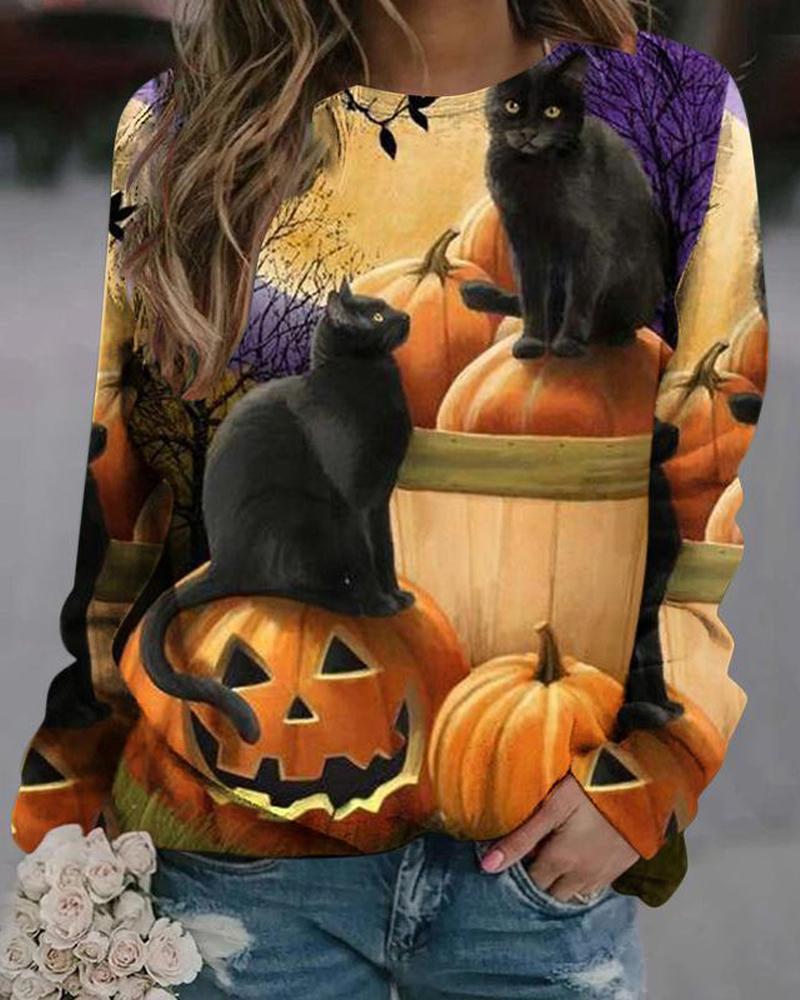 Halloween Pumpkin Animal Print Long Sleeve Sweatshirt thumbnail