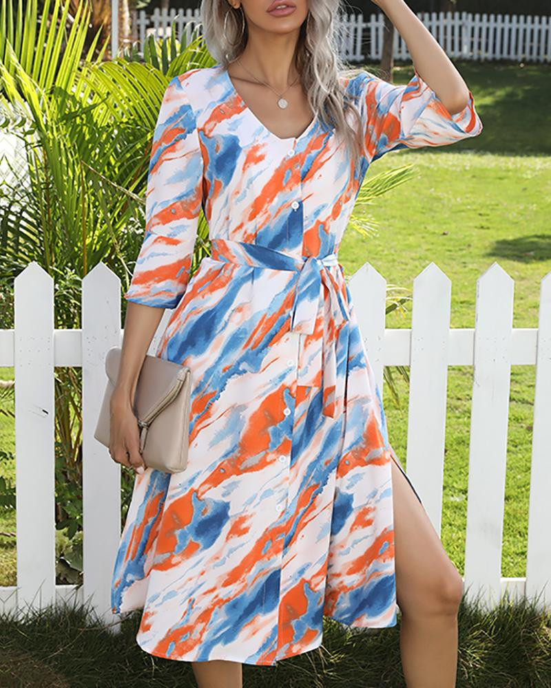 Bell Sleeve High Slit Colorblock Casual Dress