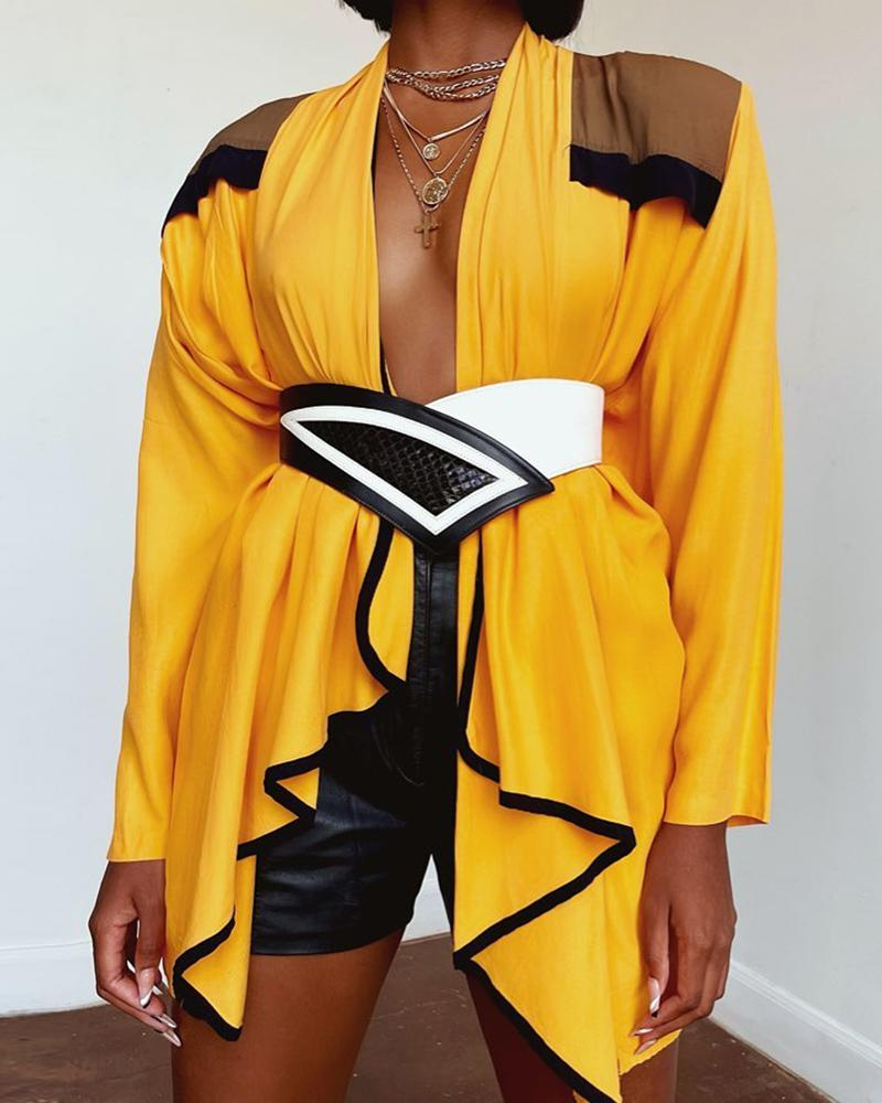 Colorblock Ruffles Asymmetrical Long Sleeve Coat, Yellow
