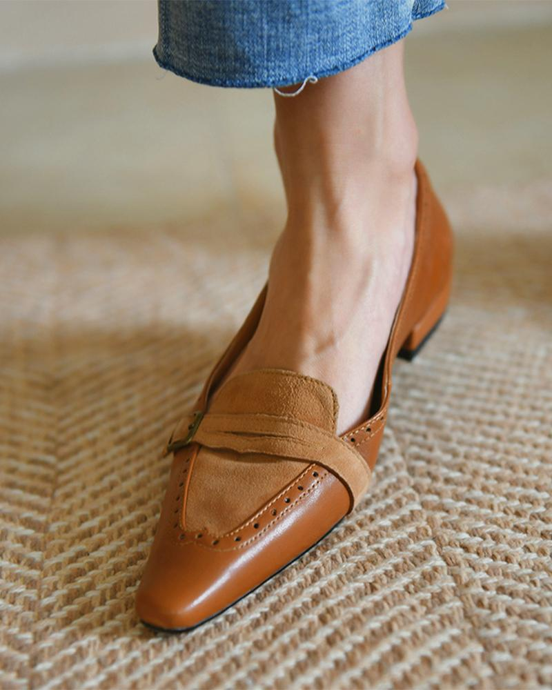 Suede Patch Buckled Square Toe Slip On Shoes