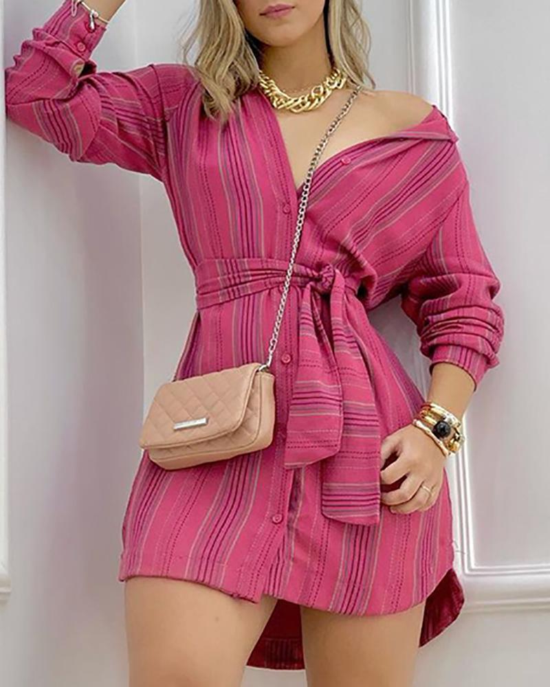 Striped Print Button Front Long Sleeve Shirt Dress