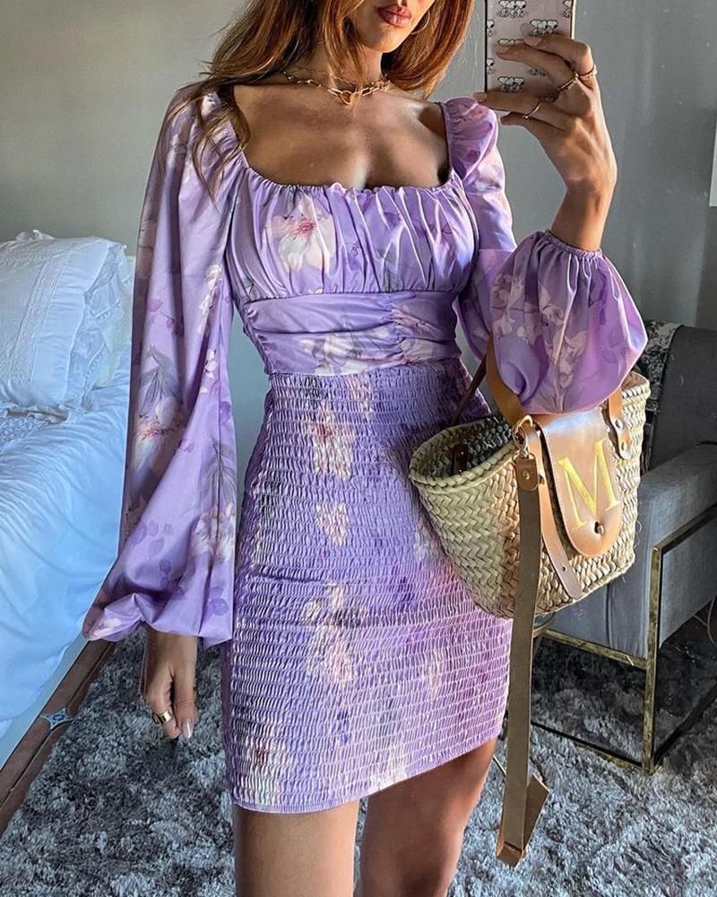 Lantern Sleeve Floral Print Shirring Dress