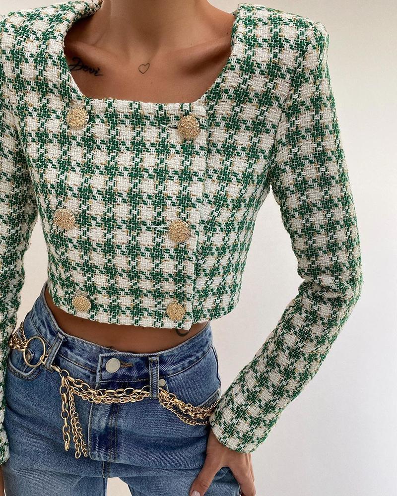 Plaid Pattern Colorblock Buttoned Blazer Crop Coat